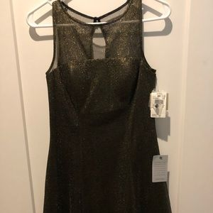Aiden NWT sparkly black and gold dress